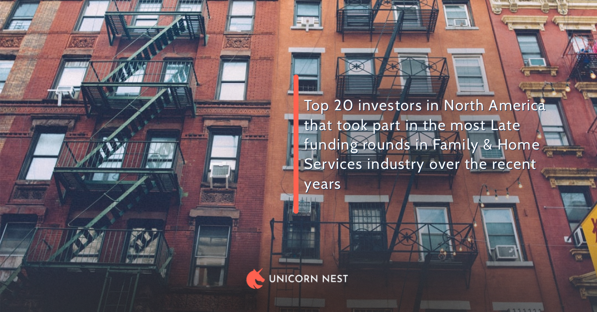 Top 20 investors in North America that took part in the most Late funding rounds in Family & Home Services industry over the recent years