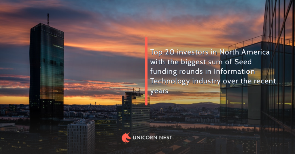 Top 20 investors in North America with the biggest sum of Seed funding rounds in Information Technology industry over the recent years