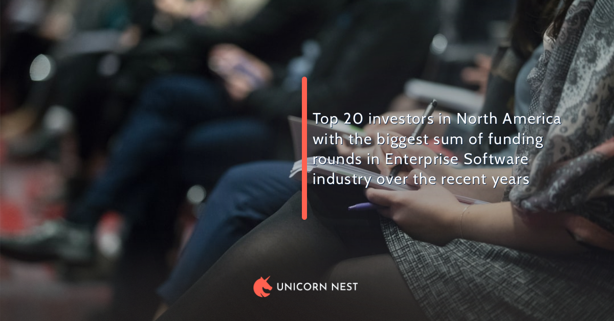 Top 20 investors in North America with the biggest sum of funding rounds in Enterprise Software industry over the recent years