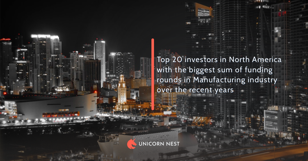 Top 20 investors in North America with the biggest sum of funding rounds in Manufacturing industry over the recent years