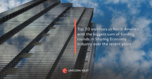 Top 20 investors in North America with the biggest sum of funding rounds in Sharing Economy industry over the recent years