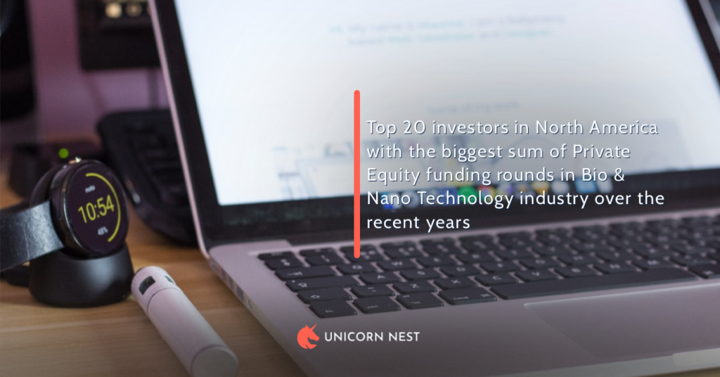 Top 20 investors in North America with the biggest sum of Private Equity funding rounds in Bio & Nano Technology industry over the recent years