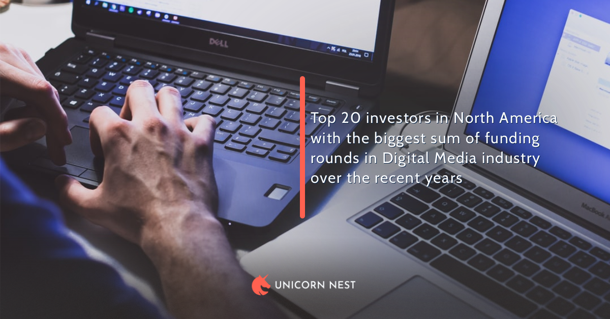 Top 20 investors in North America with the biggest sum of funding rounds in Digital Media industry over the recent years