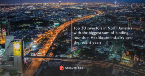 Top 20 investors in North America with the biggest sum of funding rounds in Healthcare industry over the recent years