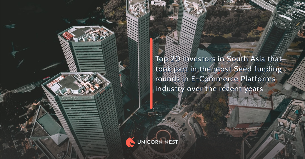 Top 20 investors in South Asia that took part in the most Seed funding rounds in E-Commerce Platforms industry over the recent years