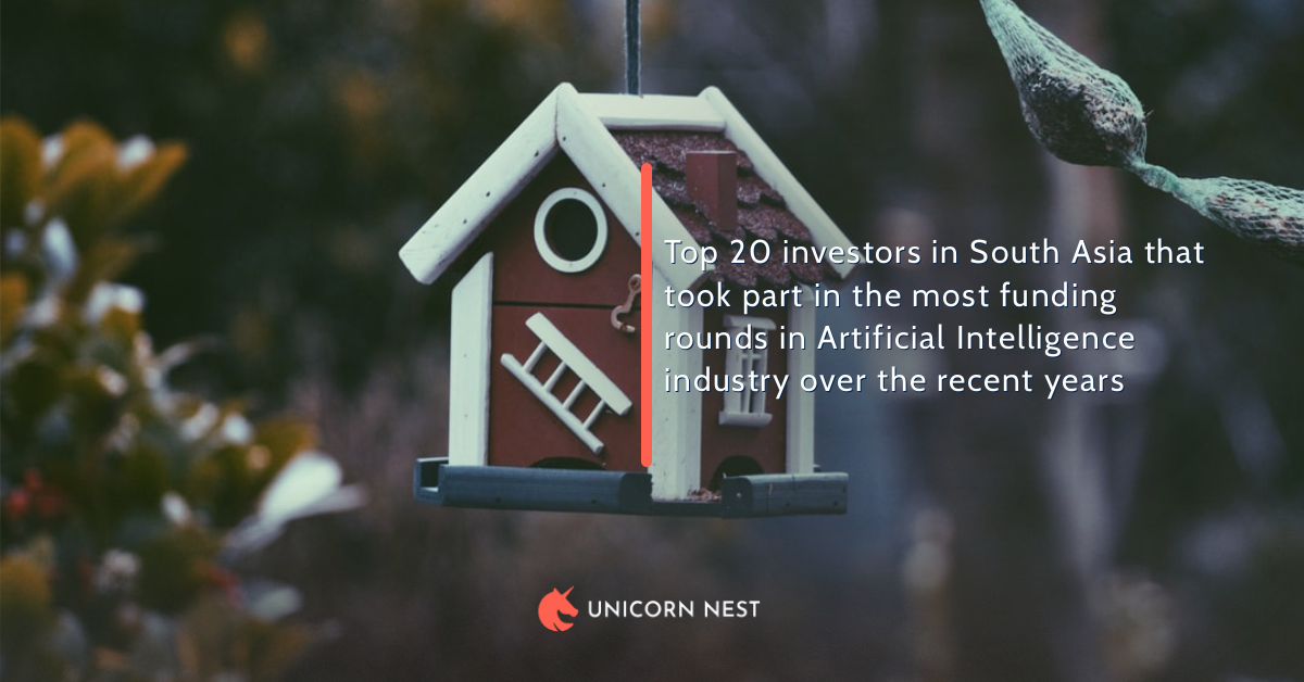 Top 20 investors in South Asia that took part in the most funding rounds in Artificial Intelligence industry over the recent years