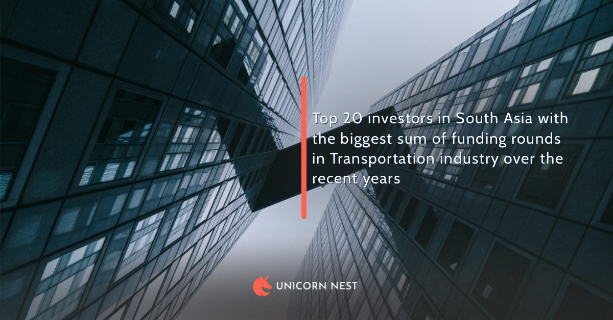 Top 20 investors in South Asia with the biggest sum of funding rounds in Transportation industry over the recent years