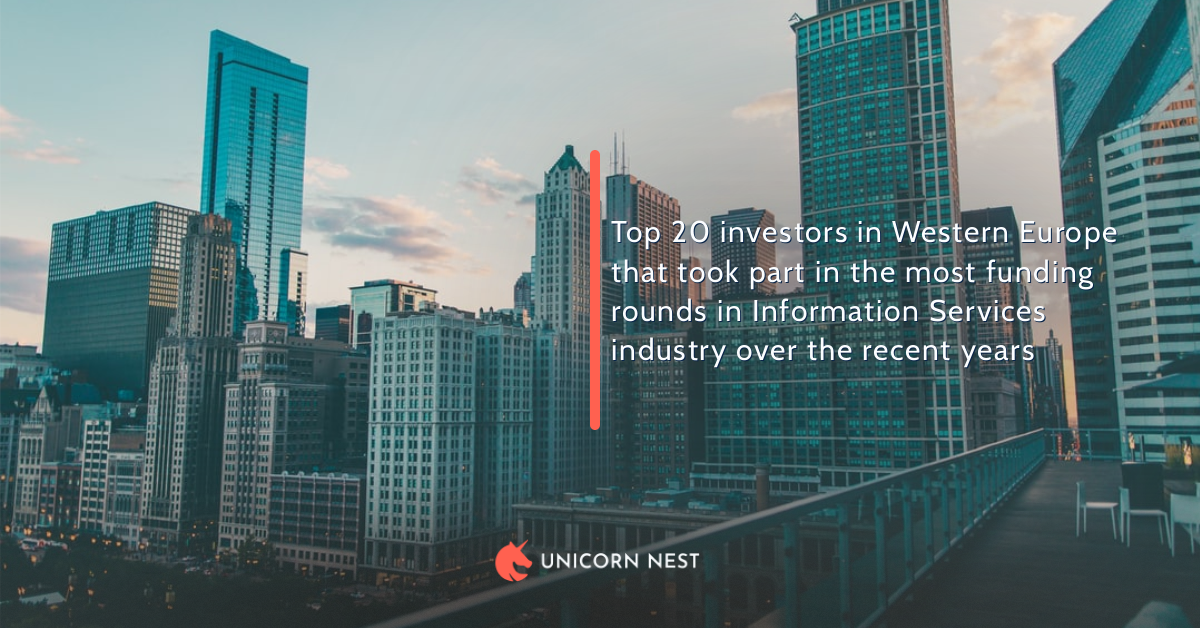 Top 20 investors in Western Europe that took part in the most funding rounds in Information Services industry over the recent years