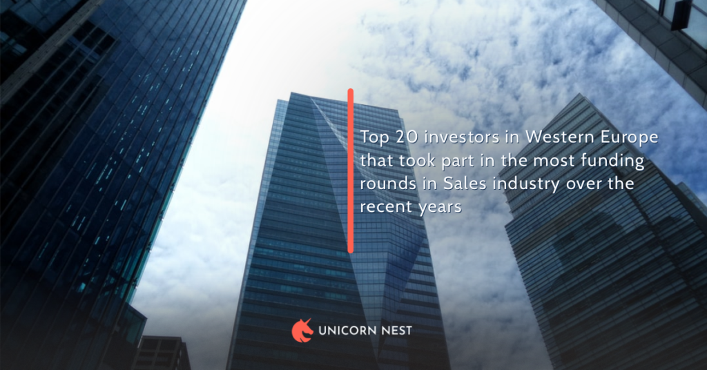 Top 20 investors in Western Europe that took part in the most funding rounds in Sales industry over the recent years