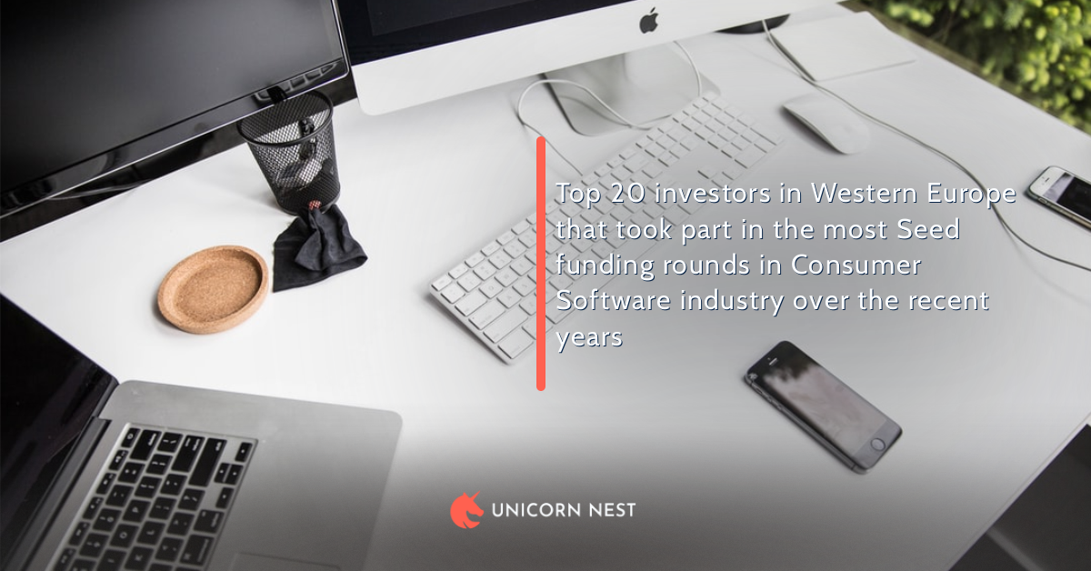 Top 20 investors in Western Europe that took part in the most Seed funding rounds in Consumer Software industry over the recent years