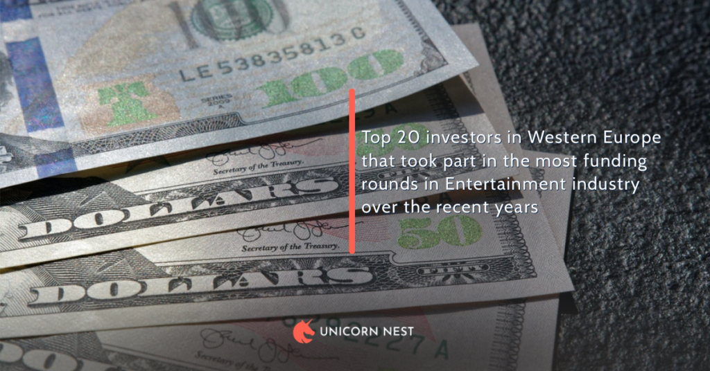 Top 20 investors in Western Europe that took part in the most funding rounds in Entertainment industry over the recent years