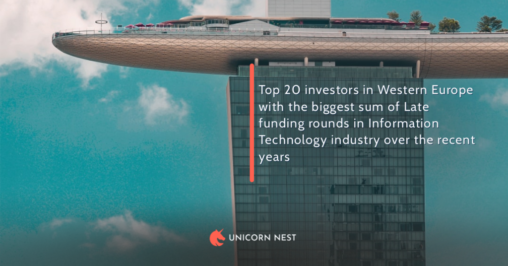 Top 20 investors in Western Europe with the biggest sum of Late funding rounds in Information Technology industry over the recent years