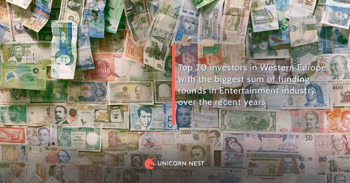 Top 20 investors in Western Europe with the biggest sum of funding rounds in Entertainment industry over the recent years