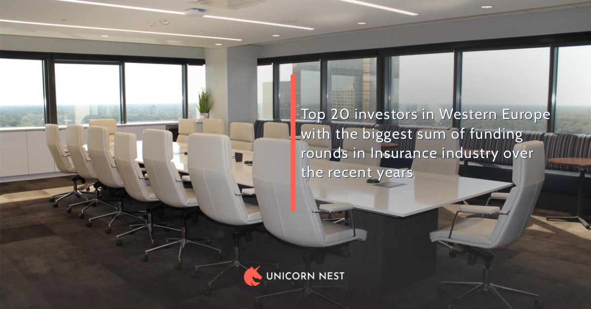 Top 20 investors in Western Europe with the biggest sum of funding rounds in Insurance industry over the recent years
