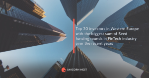 Top 20 investors in Western Europe with the biggest sum of Seed funding rounds in FinTech industry over the recent years