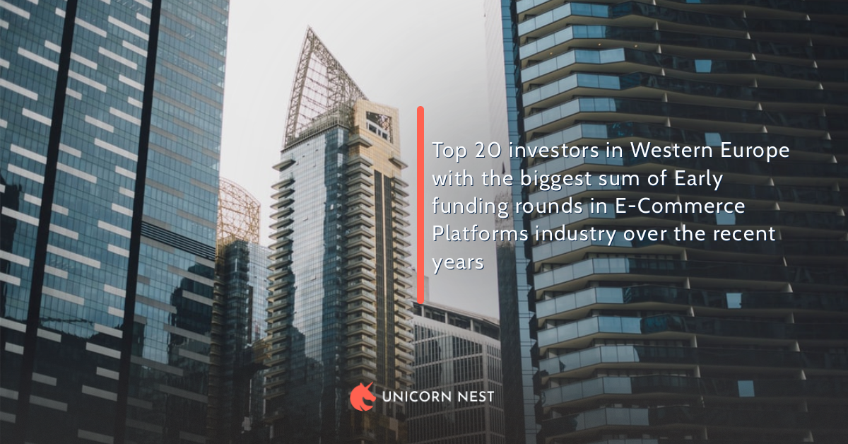 Top 20 investors in Western Europe with the biggest sum of Early funding rounds in E-Commerce Platforms industry over the recent years