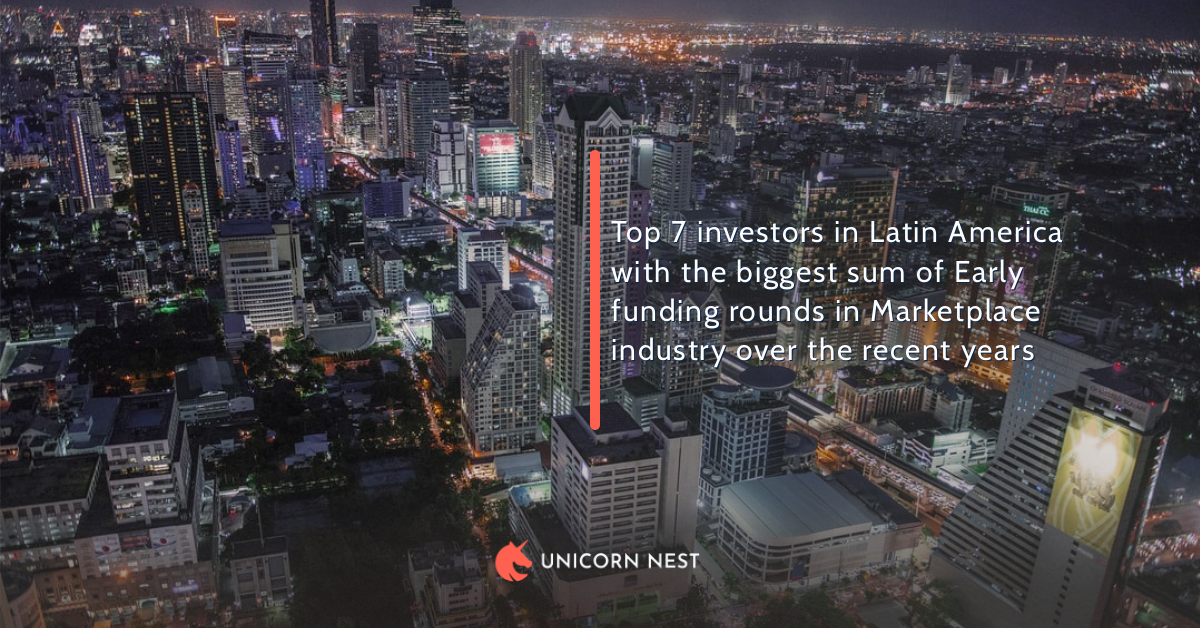 Top 7 investors in Latin America with the biggest sum of Early funding rounds in Marketplace industry over the recent years