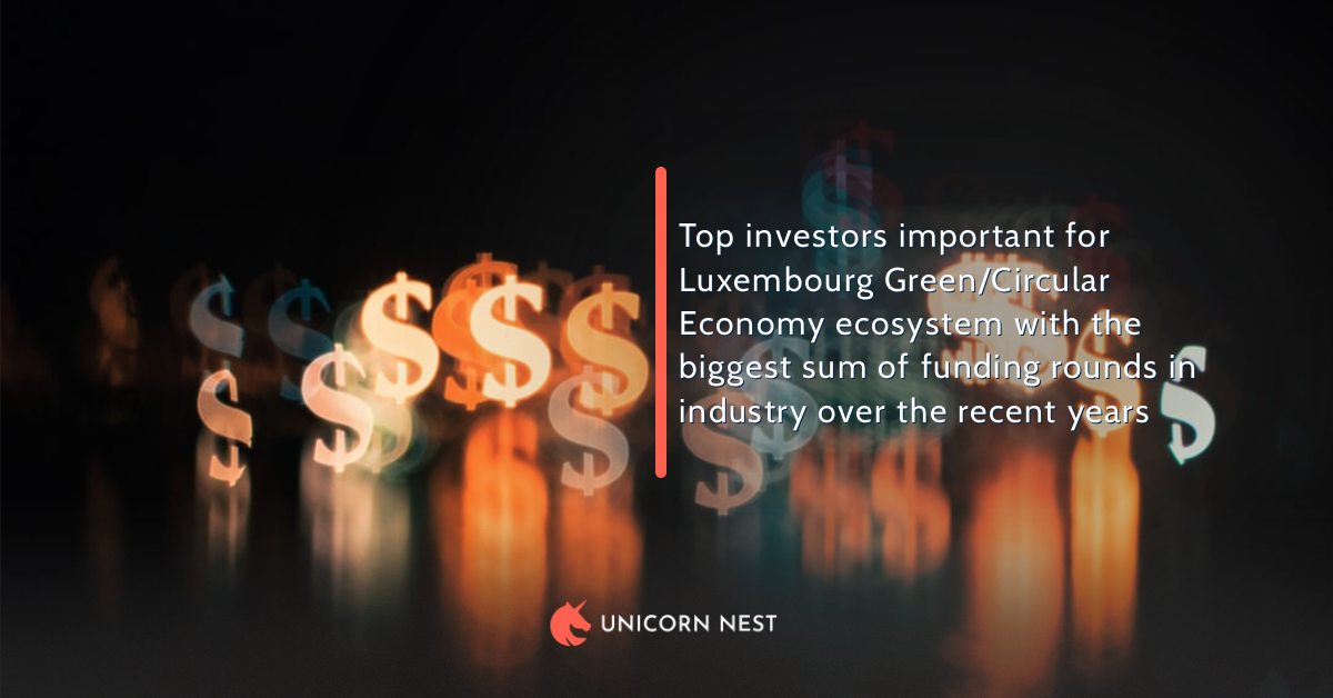 Top investors important for Luxembourg Green/Circular Economy ecosystem with the biggest sum of funding rounds in industry over the recent years