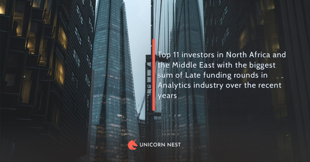 Top 11 investors in North Africa and the Middle East with the biggest sum of Late funding rounds in Analytics industry over the recent years