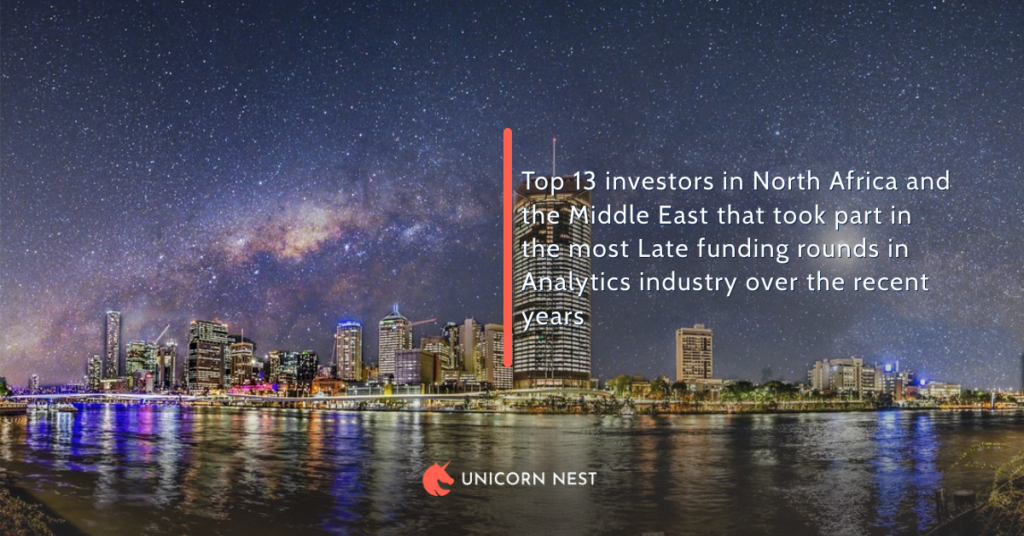 Top 13 investors in North Africa and the Middle East that took part in the most Late funding rounds in Analytics industry over the recent years