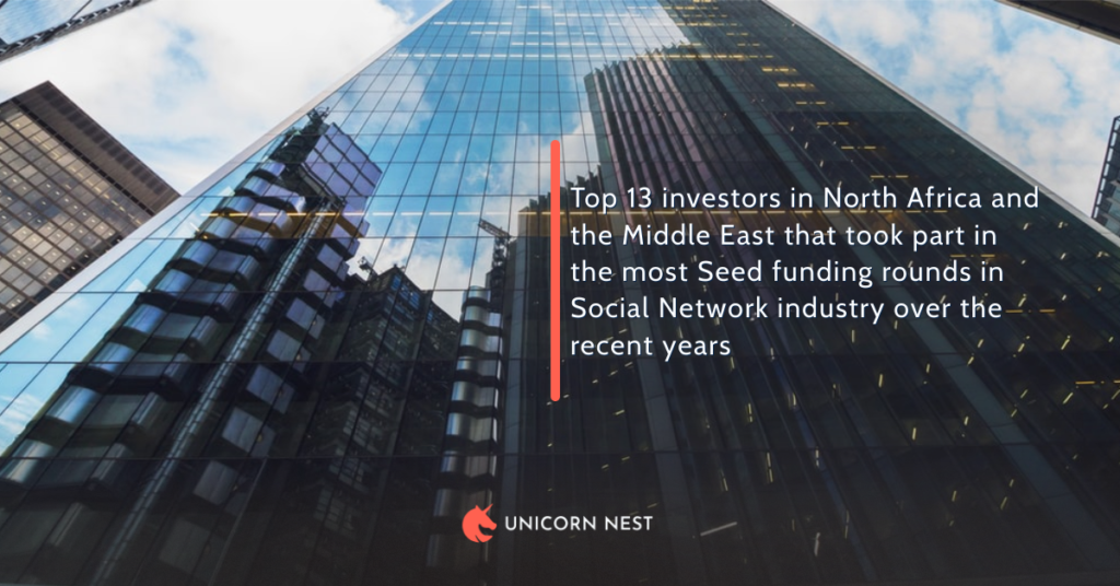 Top 13 investors in North Africa and the Middle East that took part in the most Seed funding rounds in Social Network industry over the recent years