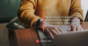 Top 16 investors in Australia and Oceania with the biggest sum of funding rounds in Social industry over the recent years