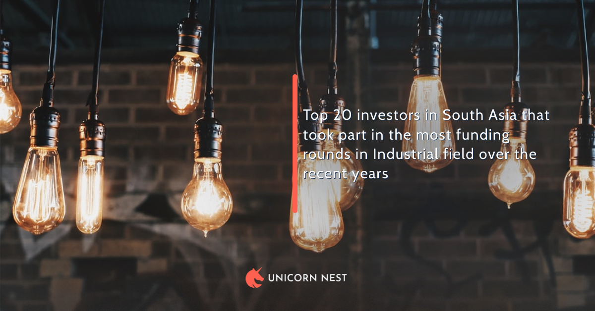 Top 20 investors in South Asia that took part in the most funding rounds in Industrial field over the recent years