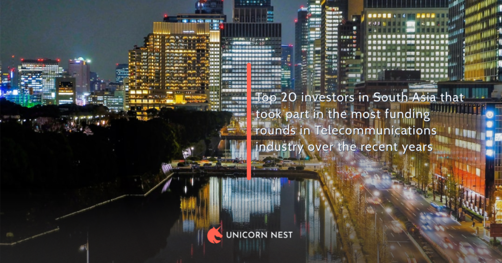 Top 20 investors in South Asia that took part in the most funding rounds in Telecommunications industry over the recent years