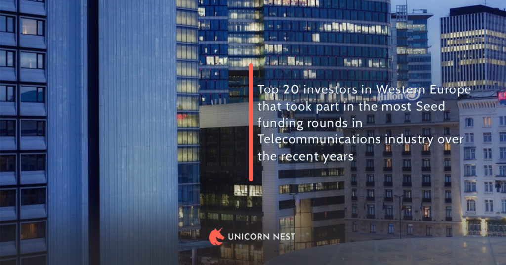 Top 20 investors in Western Europe that took part in the most Seed funding rounds in Telecommunications industry over the recent years
