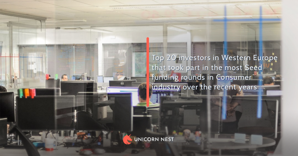 Top 20 investors in Western Europe that took part in the most Seed funding rounds in Consumer industry over the recent years