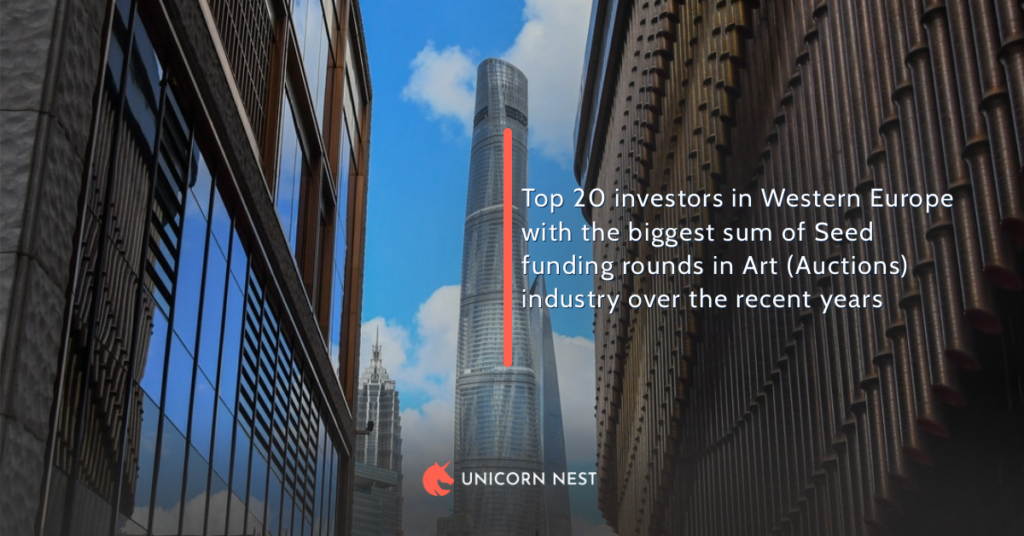 Top 20 investors in Western Europe with the biggest sum of Seed funding rounds in Art (Auctions) industry over the recent years