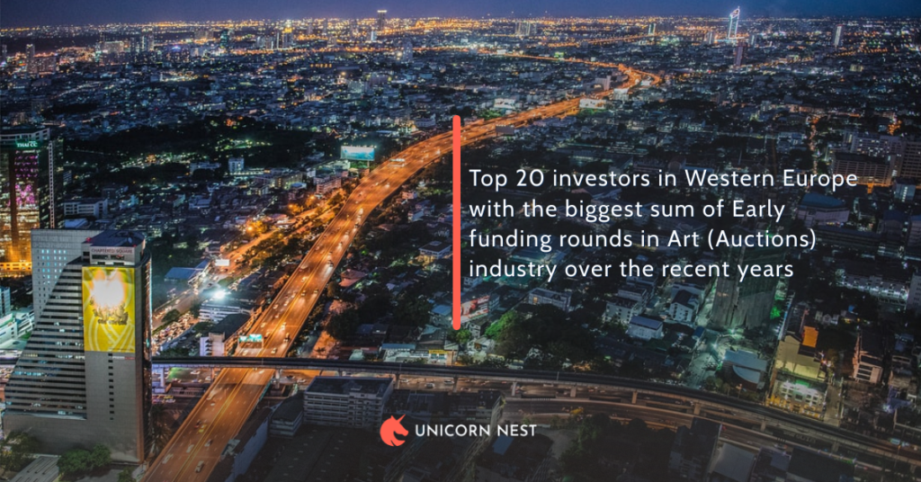 Top 20 investors in Western Europe with the biggest sum of Early funding rounds in Art (Auctions) industry over the recent years