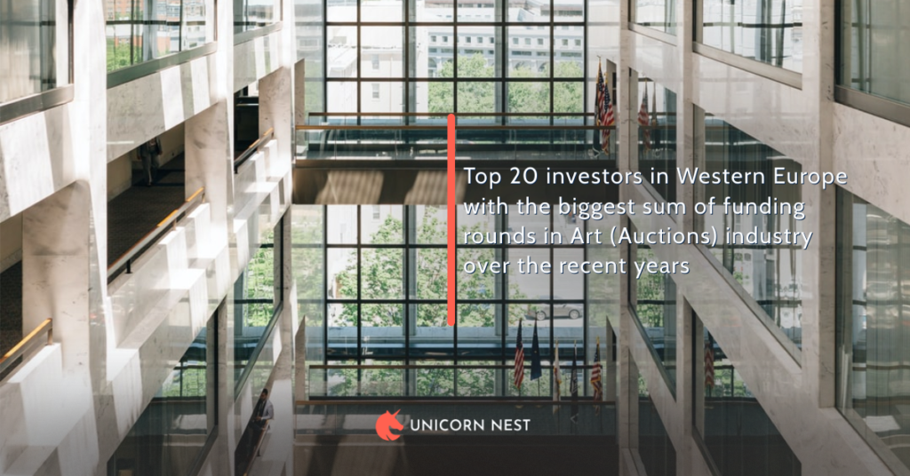 Top 20 investors in Western Europe with the biggest sum of funding rounds in Art (Auctions) industry over the recent years