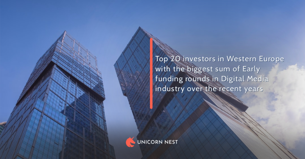 Top 20 investors in Western Europe with the biggest sum of Early funding rounds in Digital Media industry over the recent years