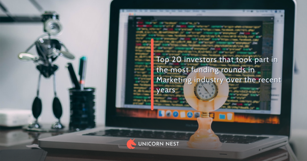 Top 20 investors that took part in the most funding rounds in Marketing industry over the recent years