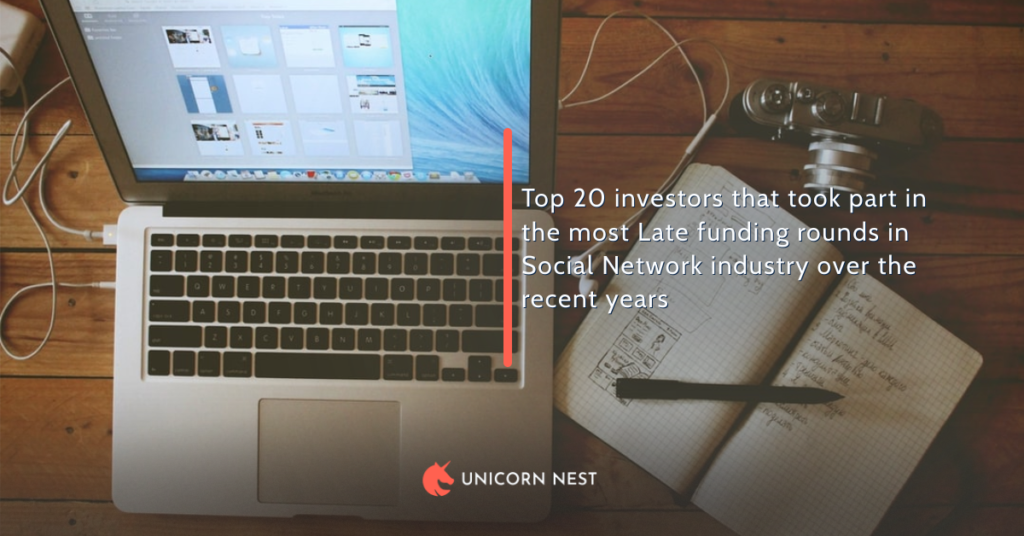 Top 20 investors that took part in the most Late funding rounds in Social Network industry over the recent years