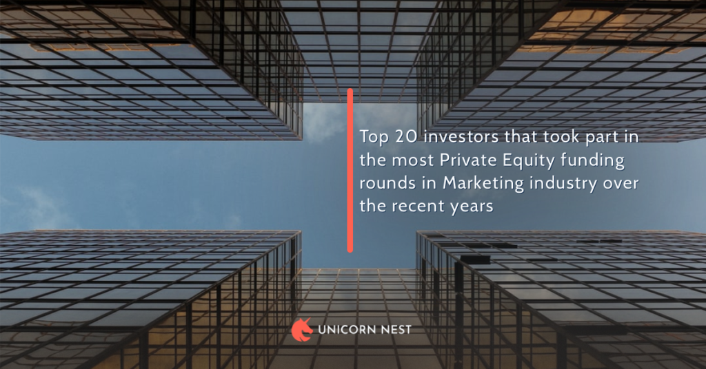 Top 20 investors that took part in the most Private Equity funding rounds in Marketing industry over the recent years
