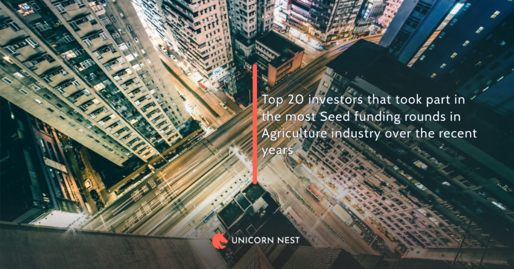 Top 20 investors that took part in the most Seed funding rounds in Agriculture industry over the recent years