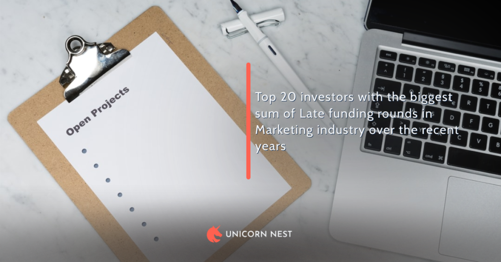 Top 20 investors with the biggest sum of Late funding rounds in Marketing industry over the recent years