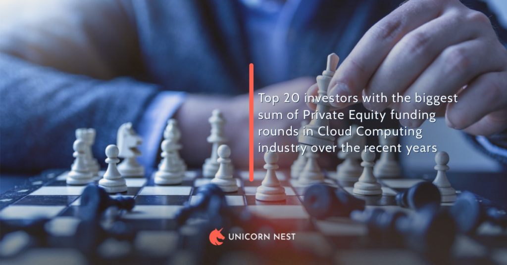 Top 20 investors with the biggest sum of Private Equity funding rounds in Cloud Computing industry over the recent years
