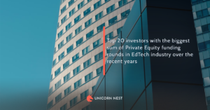 Top 20 investors with the biggest sum of Private Equity funding rounds in EdTech industry over the recent years