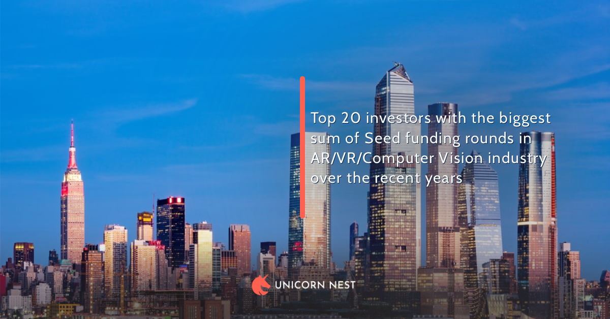 Top 20 investors with the biggest sum of Seed funding rounds in AR/VR/Computer Vision industry over the recent years