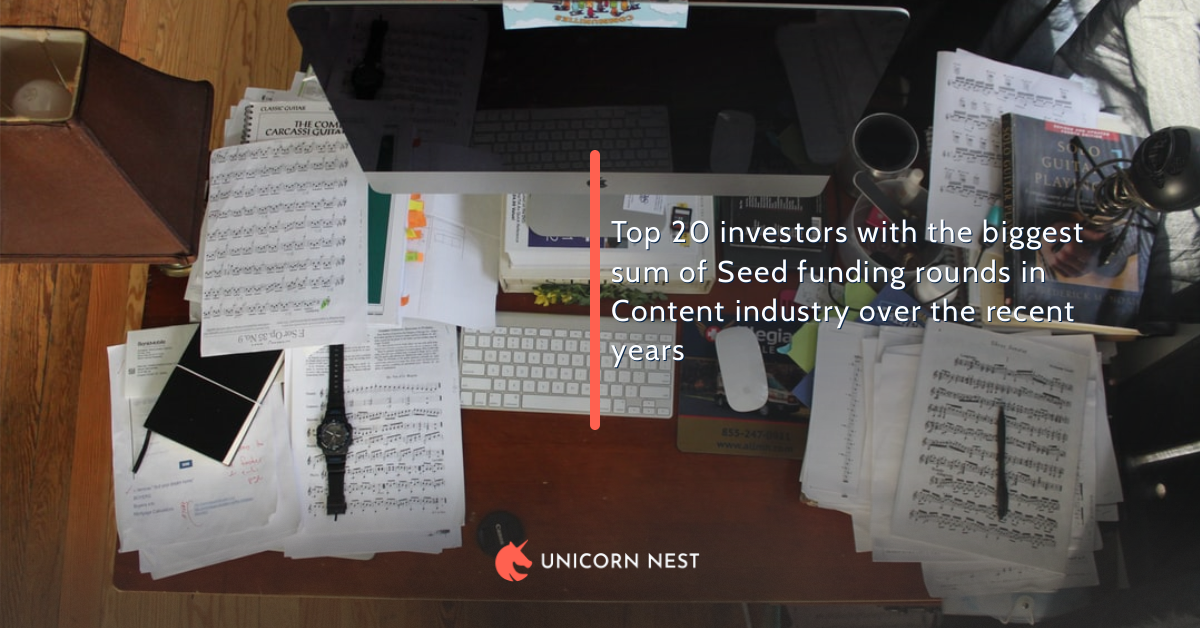 Top 20 investors with the biggest sum of Seed funding rounds in Content industry over the recent years