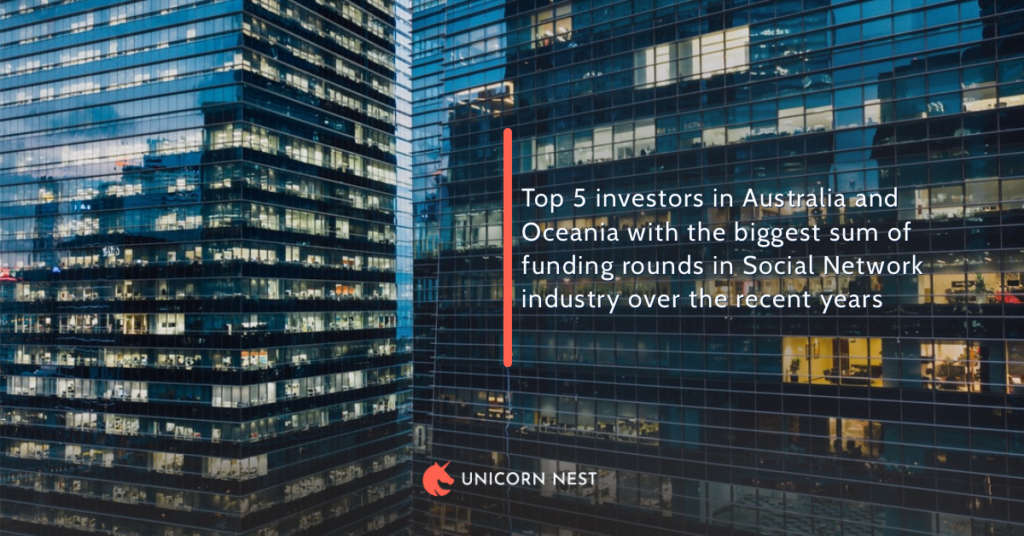 Top 5 investors in Australia and Oceania with the biggest sum of funding rounds in Social Network industry over the recent years