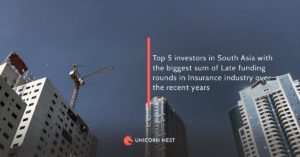 Top 5 investors in South Asia with the biggest sum of Late funding rounds in Insurance industry over the recent years