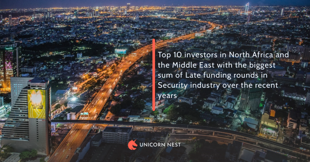 Top 10 investors in North Africa and the Middle East with the biggest sum of Late funding rounds in Security industry over the recent years