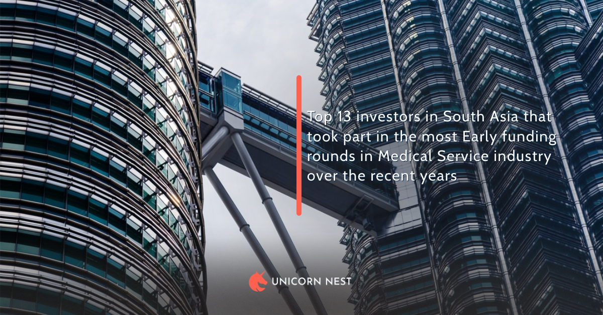Top 13 investors in South Asia that took part in the most Early funding rounds in Medical Service industry over the recent years