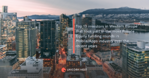 Top 13 investors in Western Europe that took part in the most Private Equity funding rounds in Mobile/Apps industry over the recent years