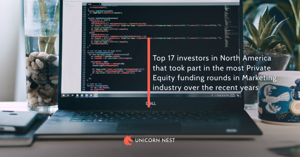Top 17 investors in North America that took part in the most Private Equity funding rounds in Marketing industry over the recent years