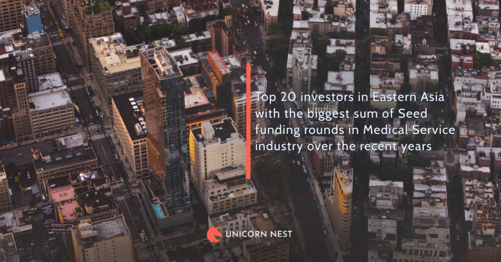 Top 20 investors in Eastern Asia with the biggest sum of Seed funding rounds in Medical Service industry over the recent years